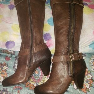 Arturo Chiang Brown Leather Knee Boots 7M